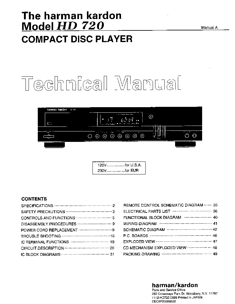 Harman kardon service Manual download