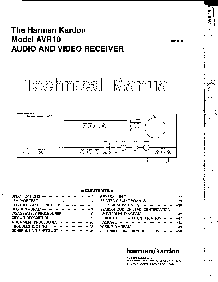 HARMAN KARDON AVR-10 Service Manual download, schematics, eeprom ...