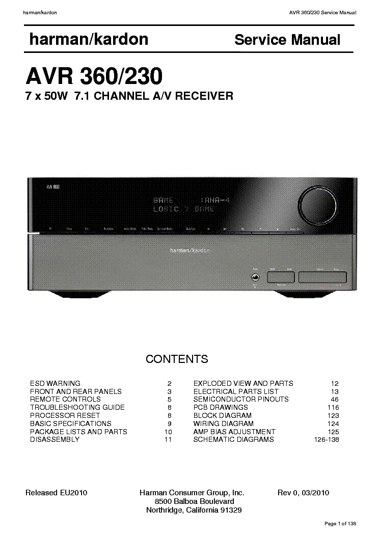 Harman Kardon avr 137 Service manual