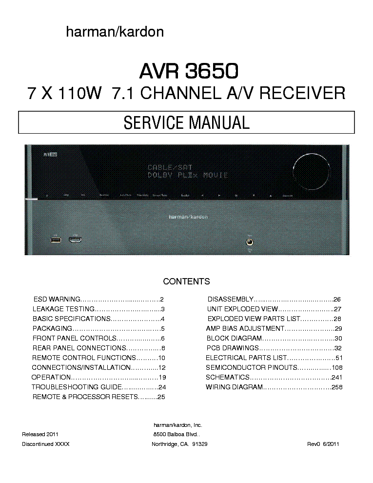 HARMAN KARDON AVR-3650 SM Service Manual download, schematics ... on