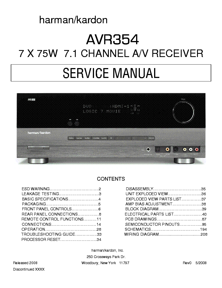 harman kardon avr 110 manual