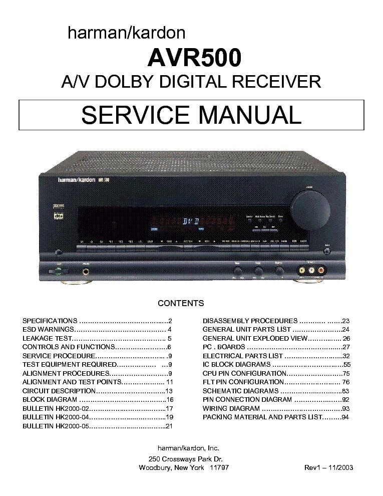 HARMAN KARDON A-500 SCH Service Manual download, schematics, eeprom on