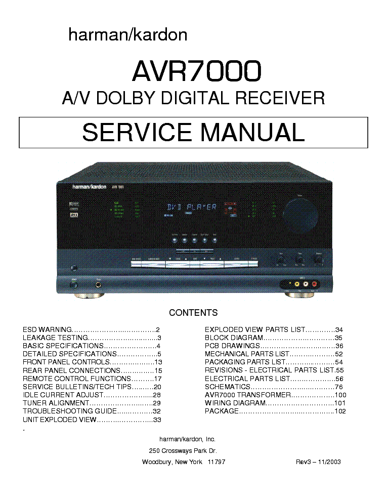 harman kardon avr7000 rev3 sm service manual download schematics rh elektrotanya com Manual Book harman kardon avr 7000 service manual