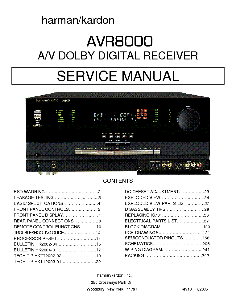 HARMAN KARDON AVR8000 SM Service Manual download, schematics, eeprom