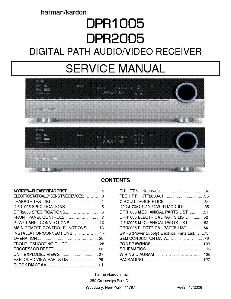 Harman Kardon Dpr1005 Dpr2005 Sm Service Manual Download  Schematics  Eeprom  Repair Info For