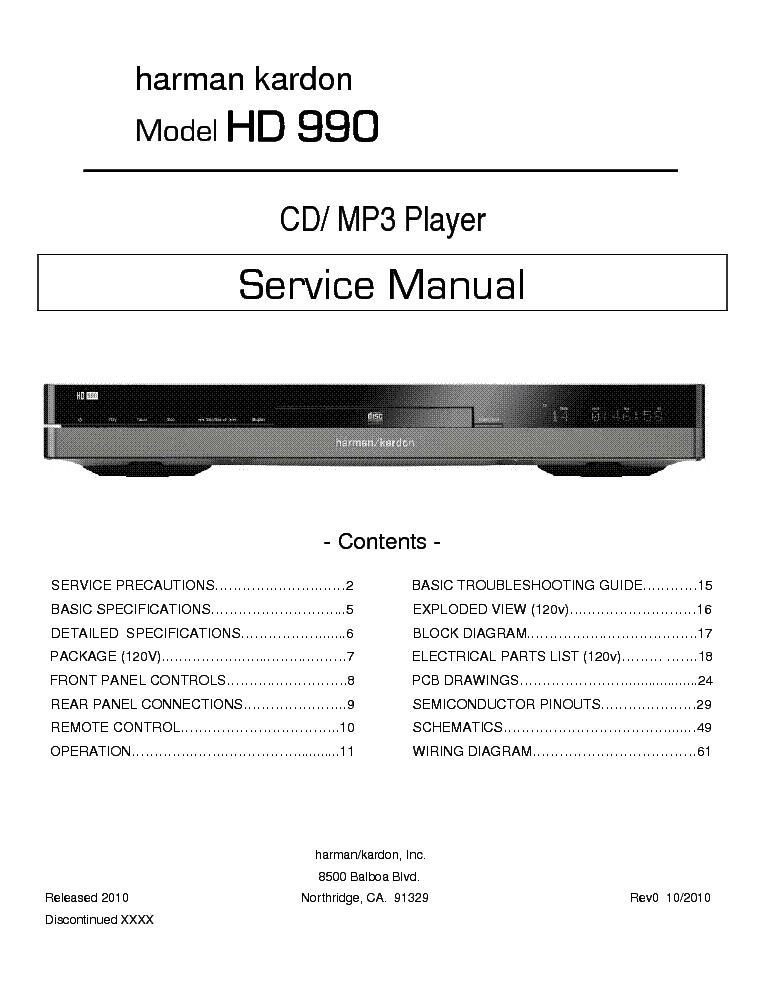HARMAN KARDON HD990 SM Service Manual download, schematics ... on