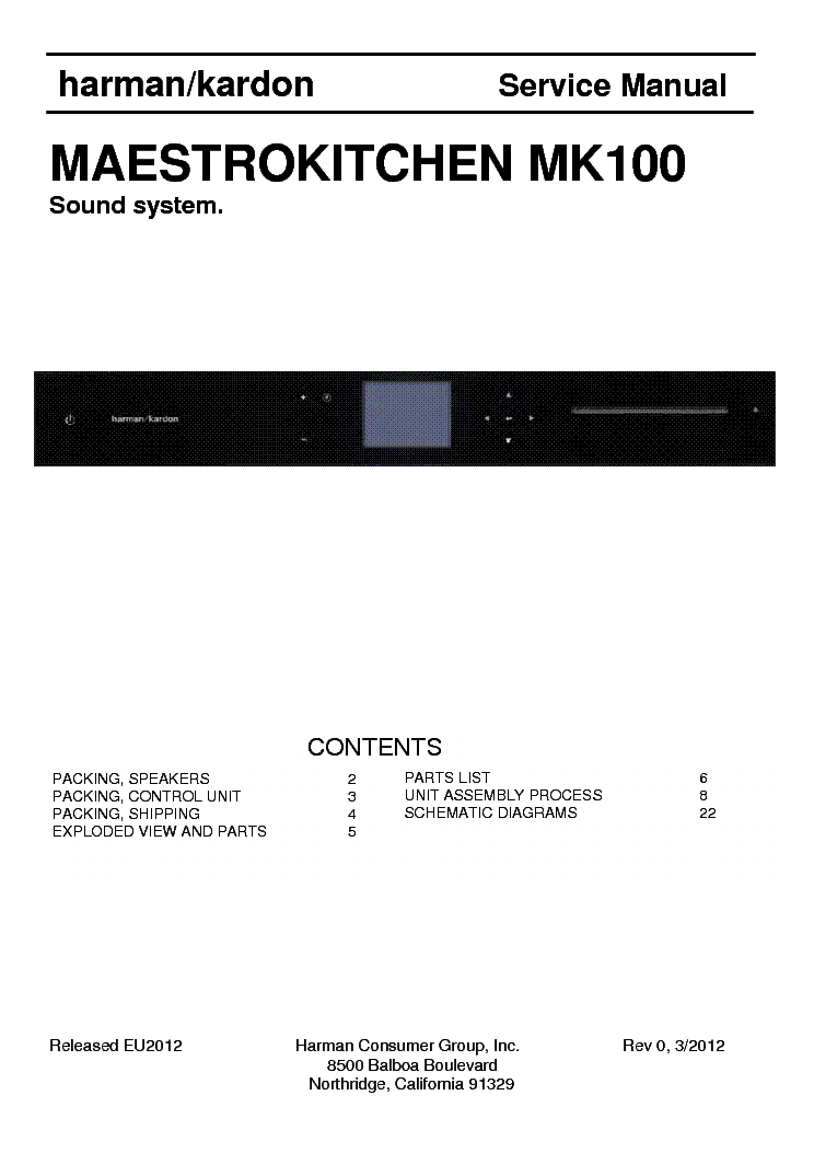 HARMAN KARDON MAESTROKITCHEN MK100 Service Manual (1st Page) Great Pictures