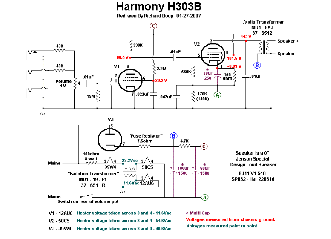 harmony h303a sch service manual download, schematics ... harmony amp schematic univox amp schematic #12