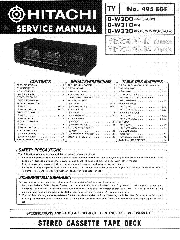 W210 Service Manual 1995 Gm Fleetwood Brogh 57 Fuse Box Diagram Array Hitachi D W200 W220 Schematic Download Rh Elektrotanya Com