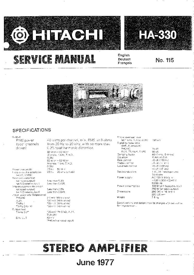 HITACHI    HA330 SM Service    Manual    download     schematics