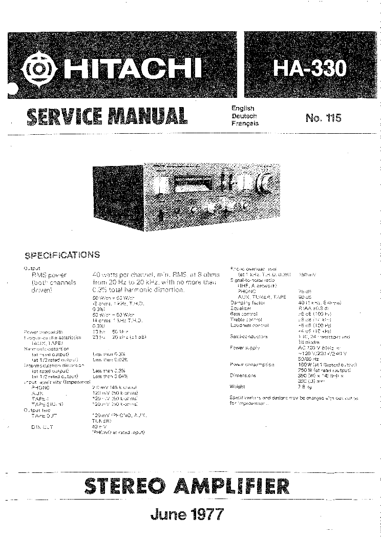 Hitachi Ha 330 Sm Service Manual Download Schematics border=