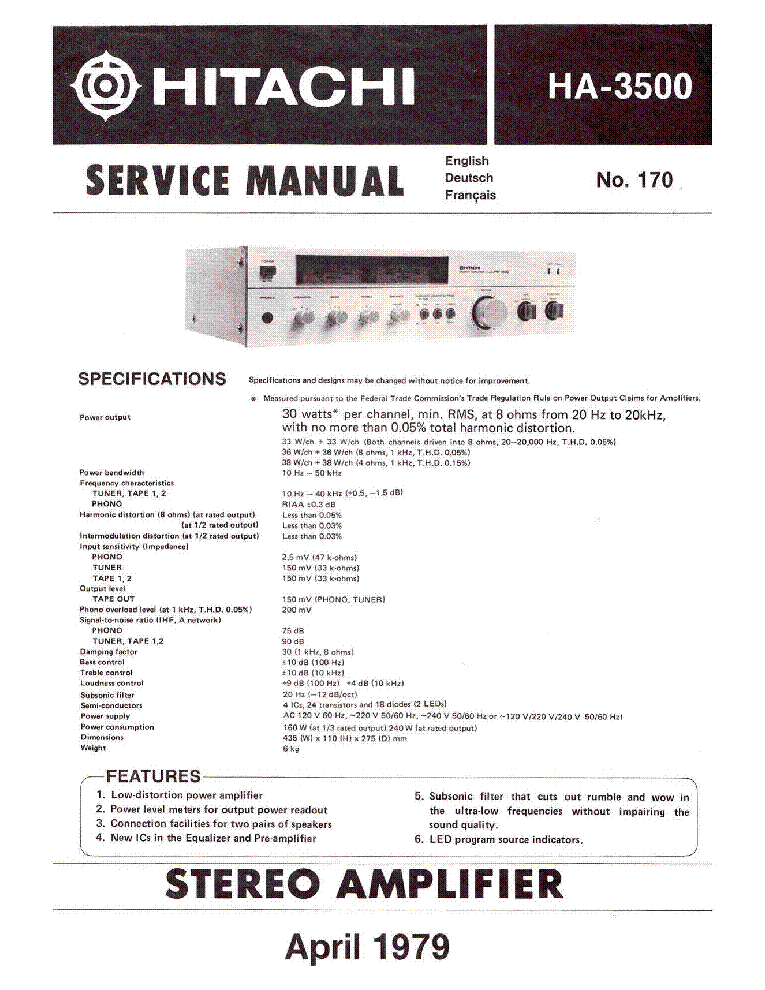 HITACHI HA-3500 STEREO AMPLIFIER 1979 SM service manual (1st page)