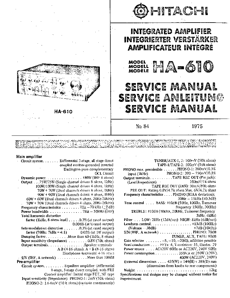 HITACHI HA-610 INTEGRATED AMPLIFIER 1975 SM service manual (1st page)