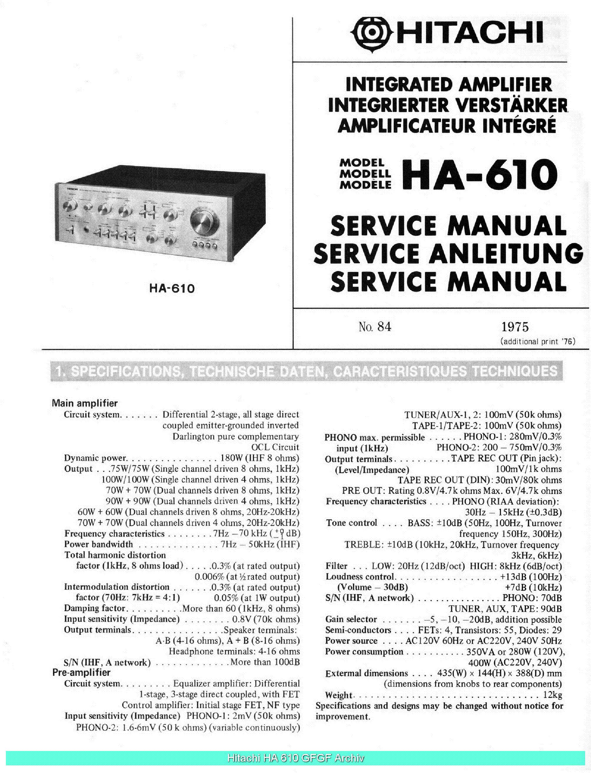 HITACHI FT-5500 SM EN DE FR Service Manual download
