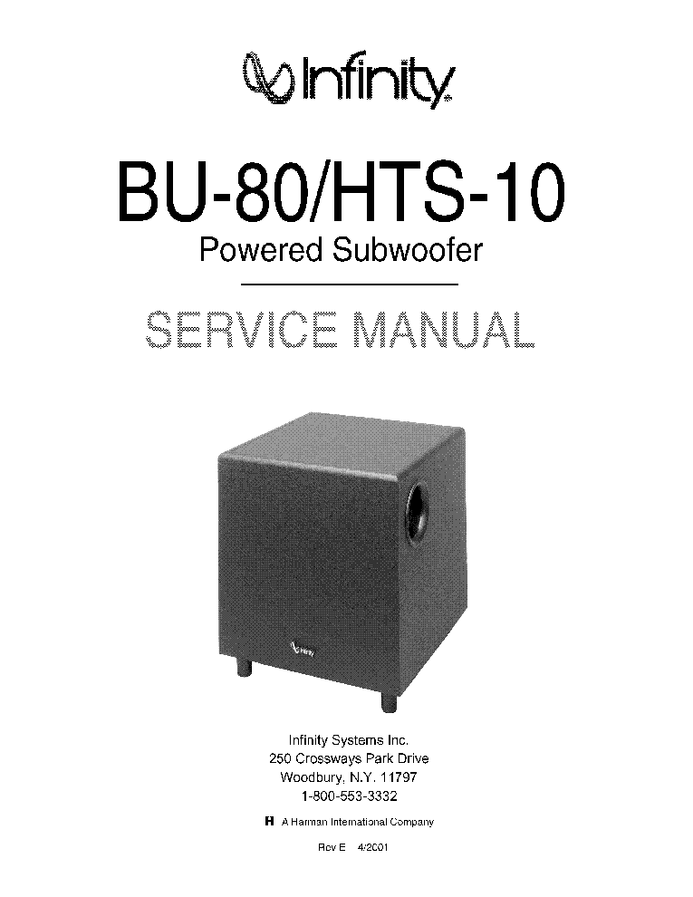 infinity bu 80 hts 10 rev e service manual download schematics rh elektrotanya com infinity bu-80 service manual infinity bu 80 powered subwoofer manual