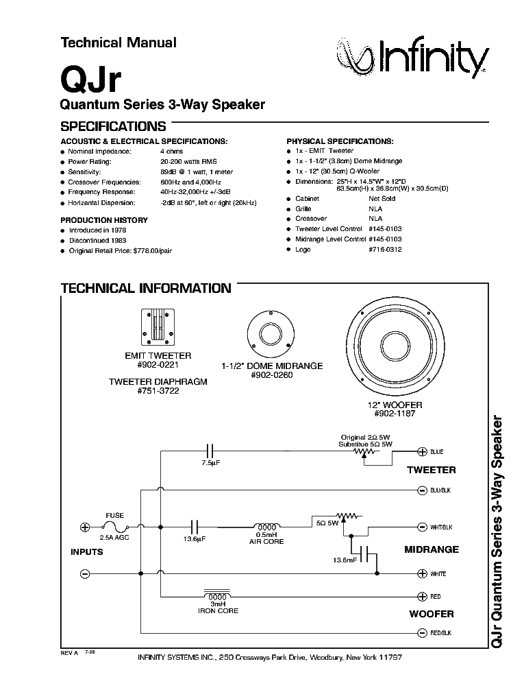 Infinity Qsr Crossover Schematic Service Manual Free