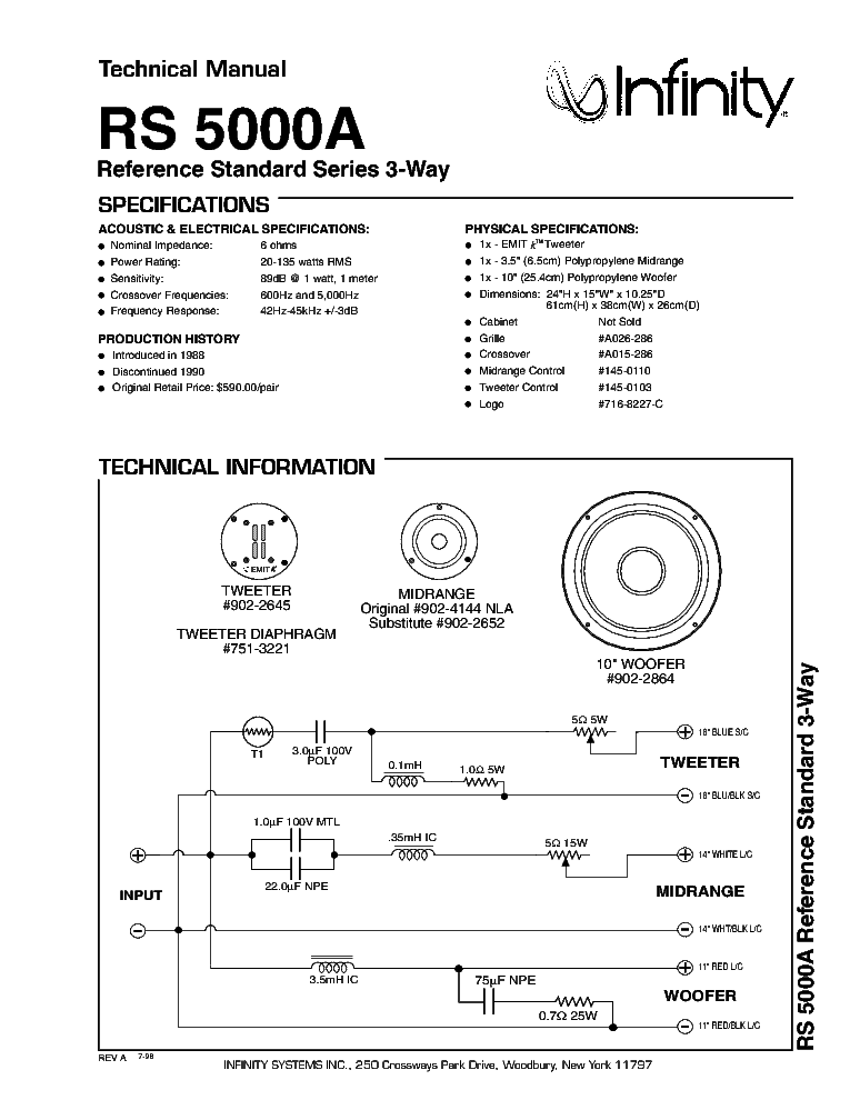 Infinity Rs 5000 A 135w Speaker System Sm Service Manual
