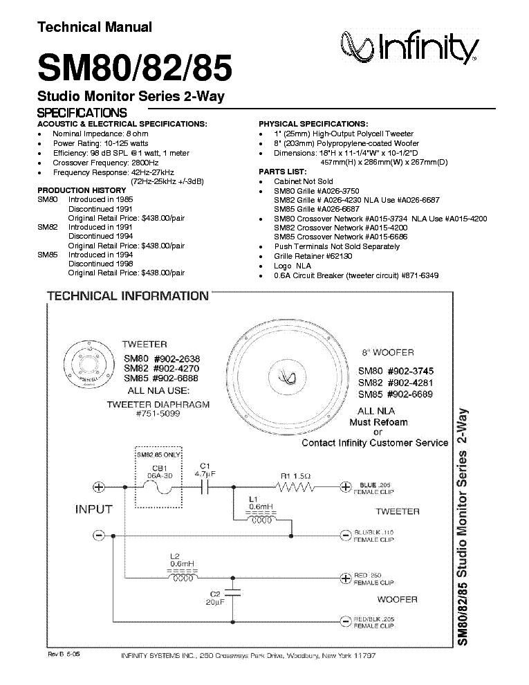 Infinity Sm 80 82 85 Service Manual Download Schematics