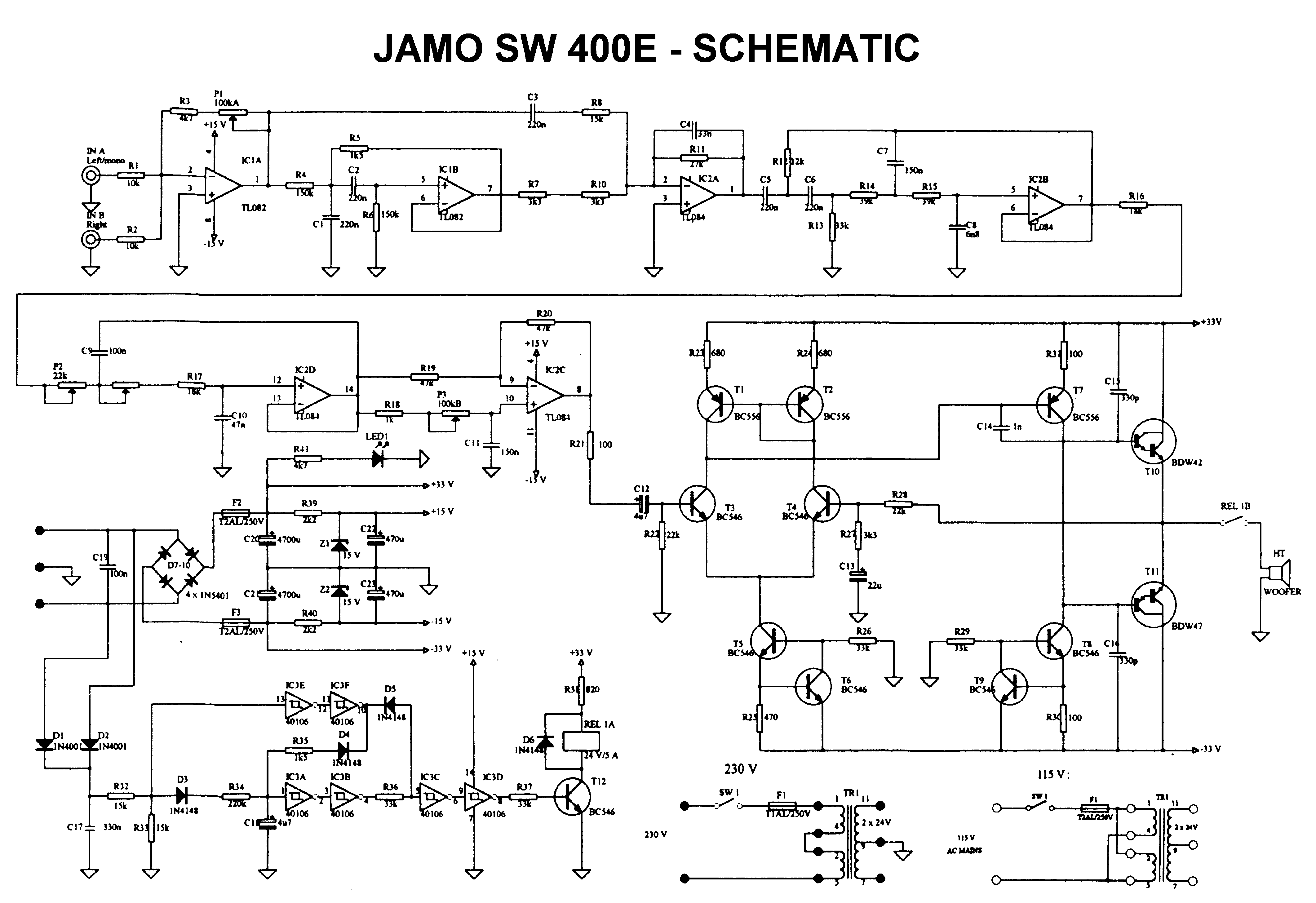 Jamo Sw 200 Ii Schematic Assembly Service Manual Download