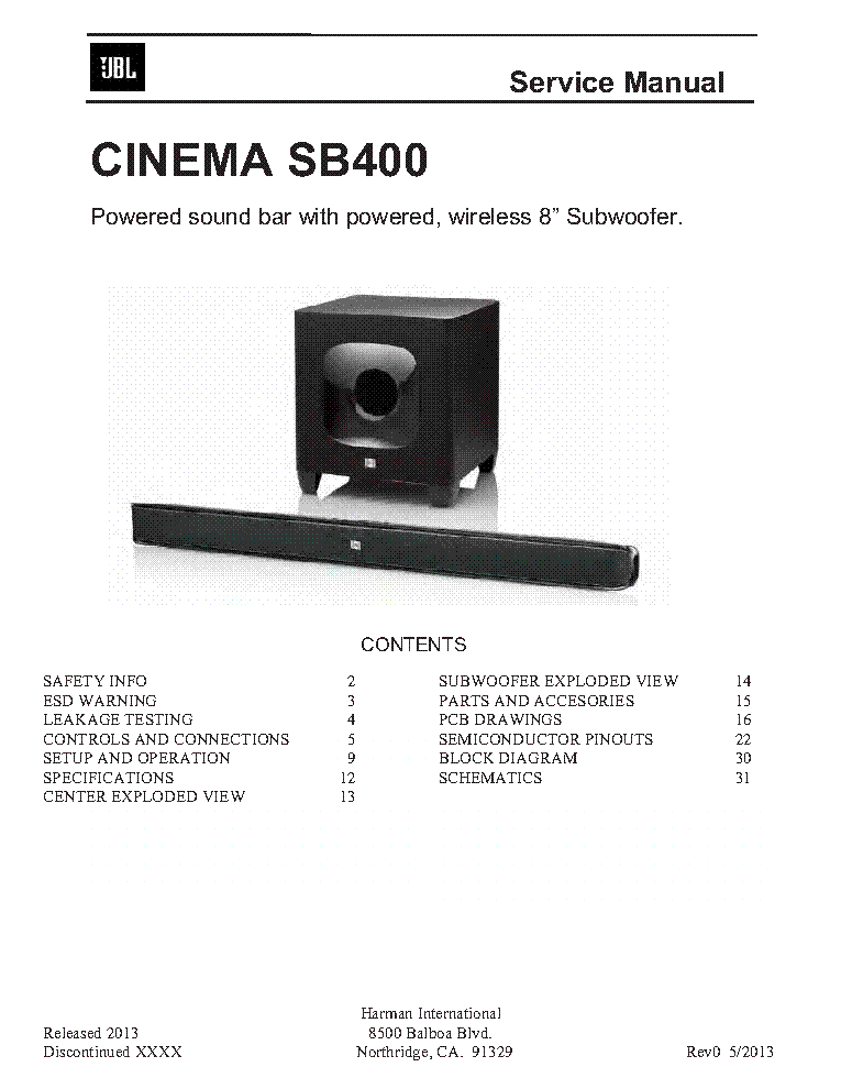 jbl cinema sb400 service manual download schematics eeprom repair rh elektrotanya com Audio Speakers JBL Car Audio