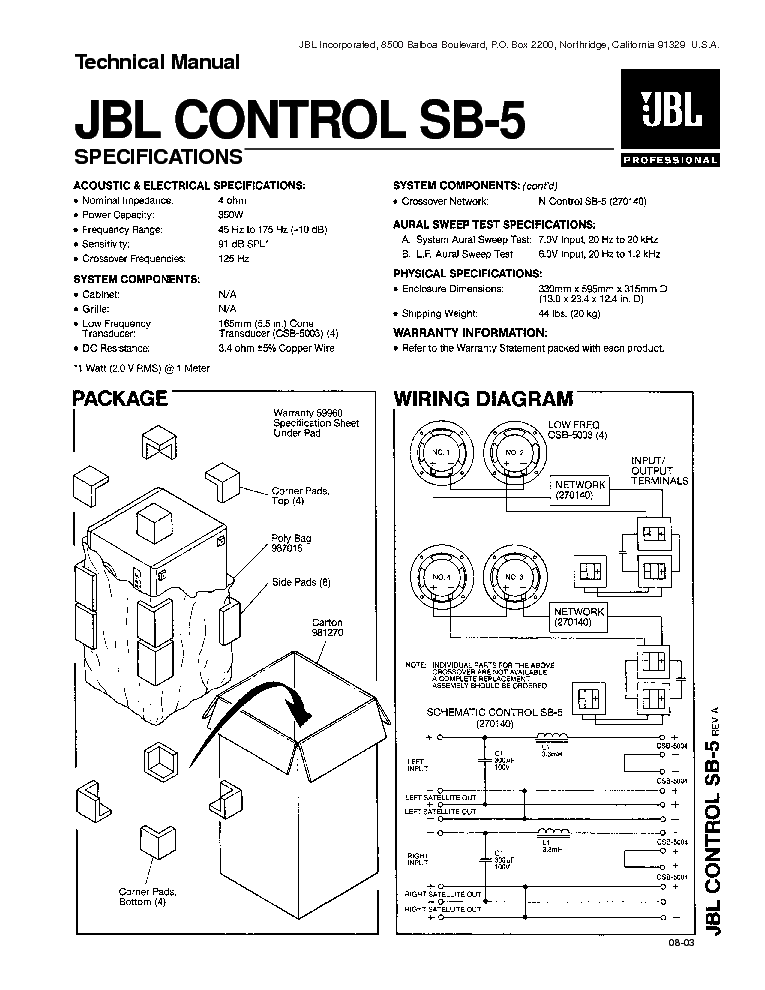 jbl control sb 5 350w speaker system sm service manual download rh elektrotanya com jbl control 25 installation manual jbl control 25 installation manual