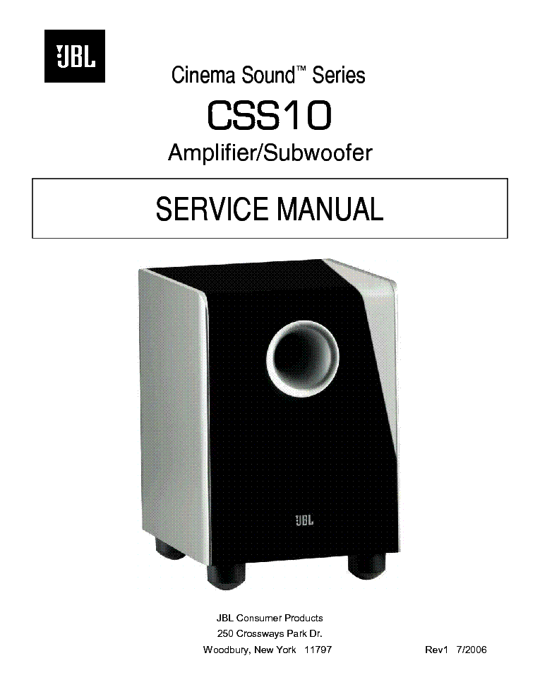 JBL CSS10 AMPLIFIER SUBWOOFER SM Service Manual download