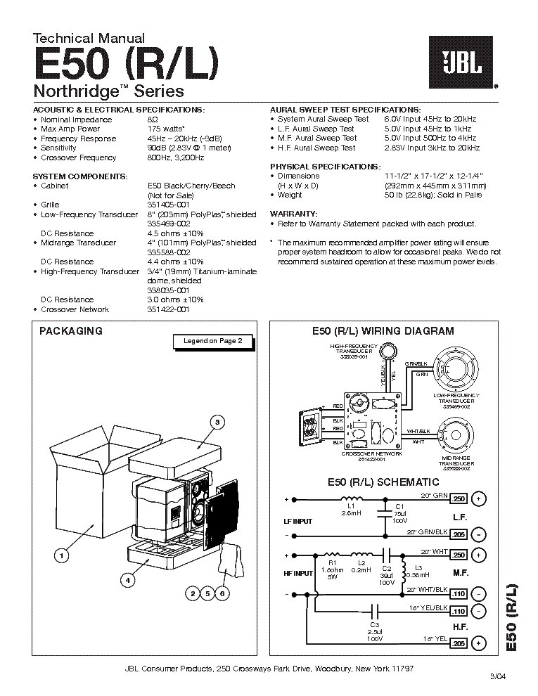 JBL E-50 L R NORTHRIDGE SERIES 250W SPEAKER SYSTEM SM service manual (1st page)