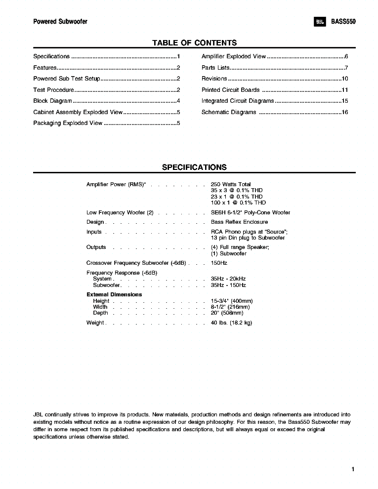 JBL ESC-550 SUB-BASS SM service manual (2nd page)