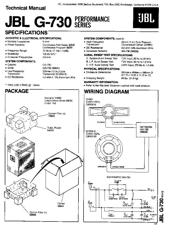 Jbl G 730 200 400 W Speaker System Sm Service Manual
