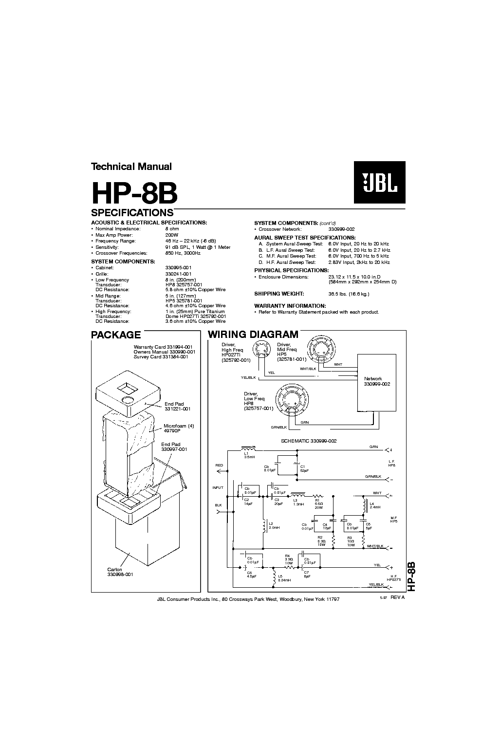 JBL HP-8-B SPEAKER SYSTEM SM service manual (1st page)