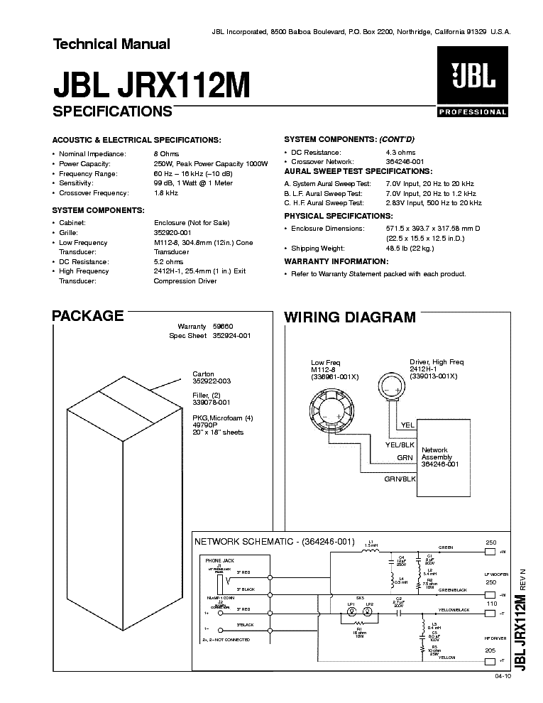 JBL GTX47 CROSSOVER Service Manual download, schematics ... on
