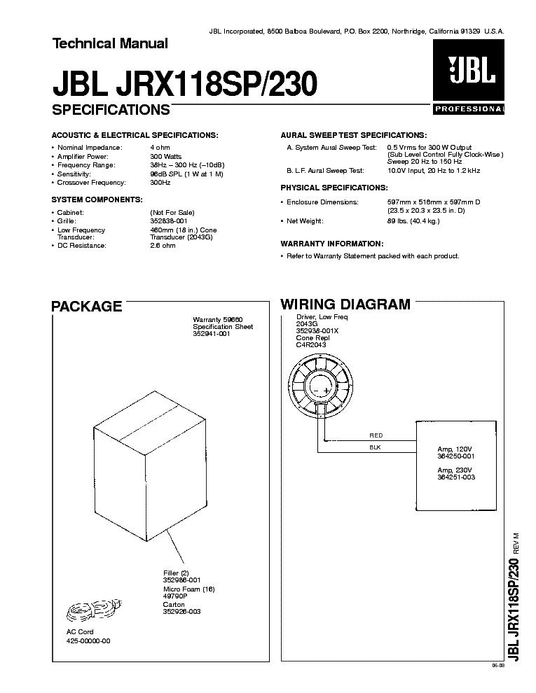 JBL NORTHBRIDGE E-80 200W SPEAKER SYSTEM SM Service Manual ...