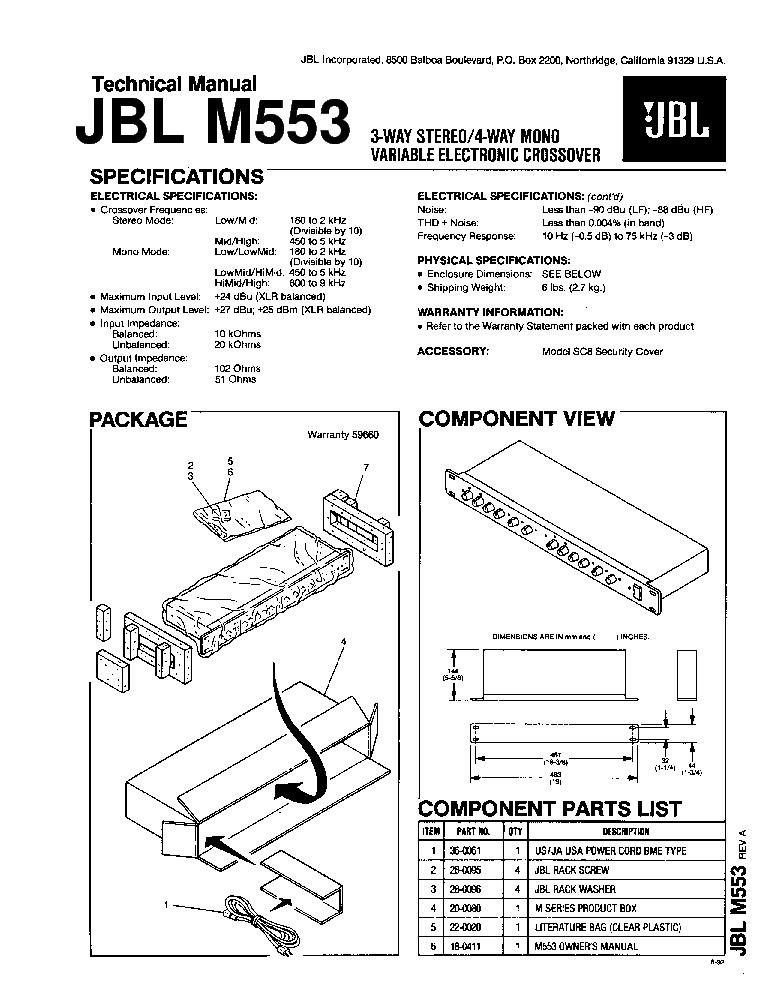Wem1rx wireless subwoofer receiver user manual jblp2744-wem1-om.