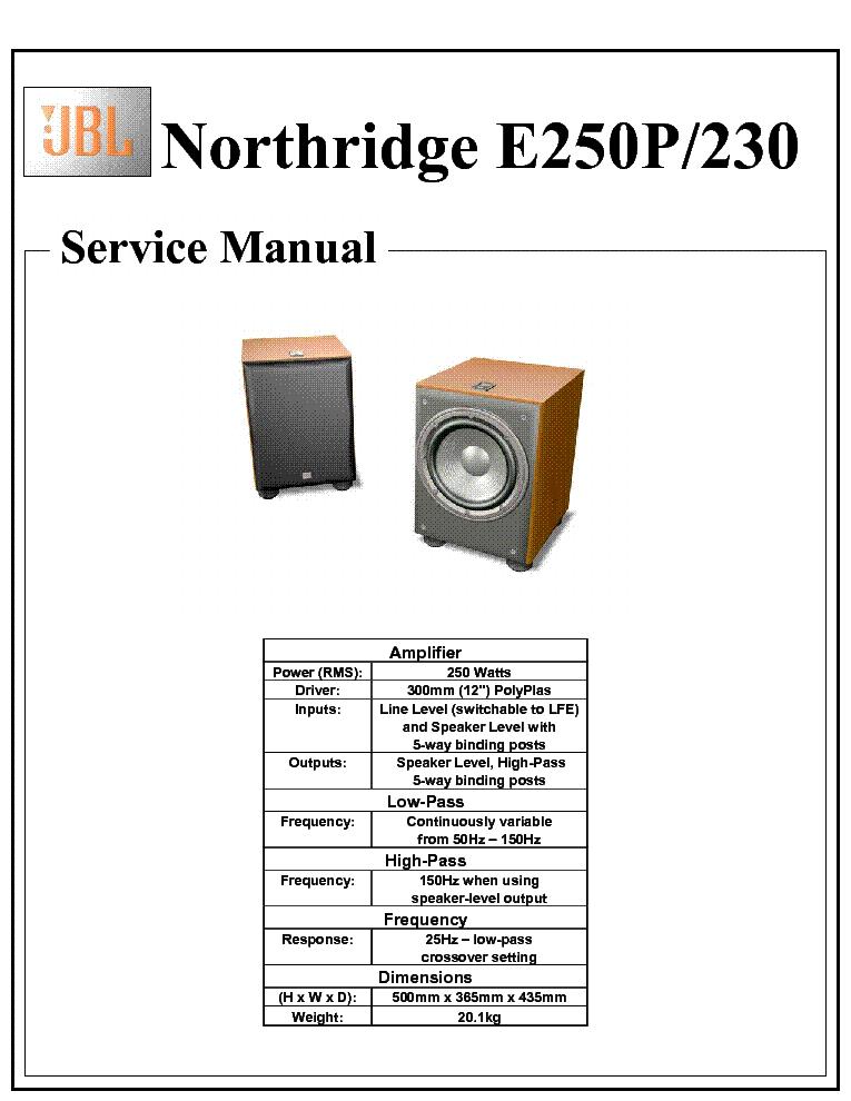 Jbl Northridge E250p 230 Service Manual Download