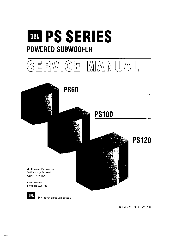 JBL PS-100 POWERED SUBWOOFER PS 60 100 120 SM service manual