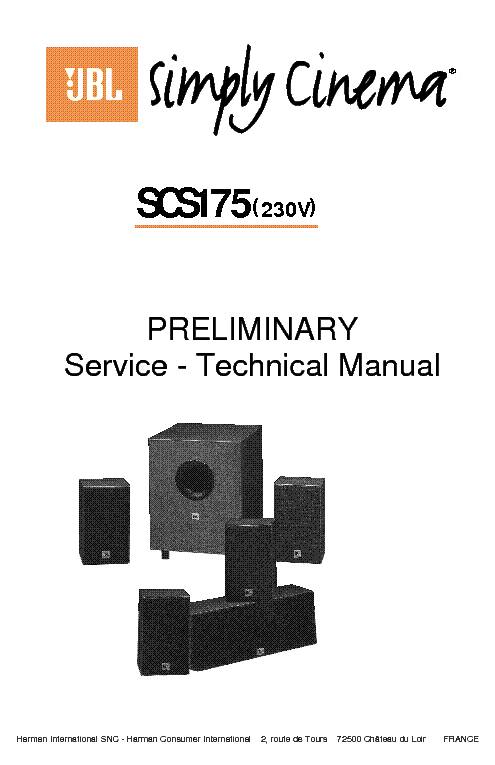 JBL SCS-175 HOME THEATER SPEAKER SYSTEM 2001 SM service manual (1st page)