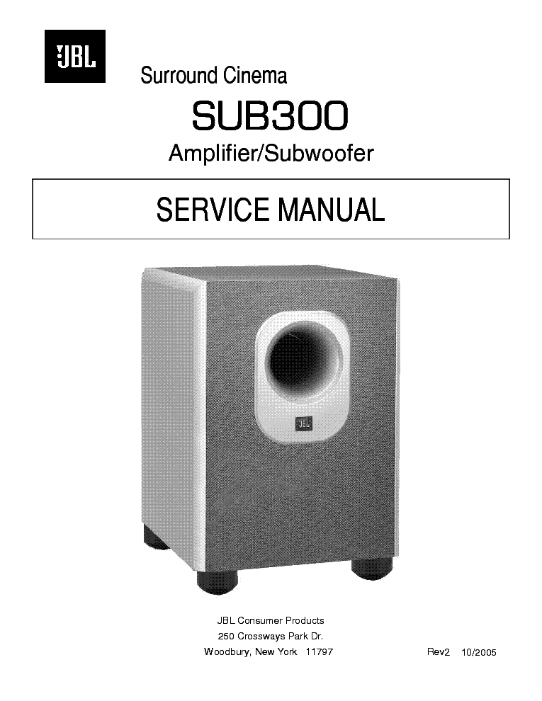 JBL SUB300 ACTIVE SUBWOOFER Service Manual download ... on