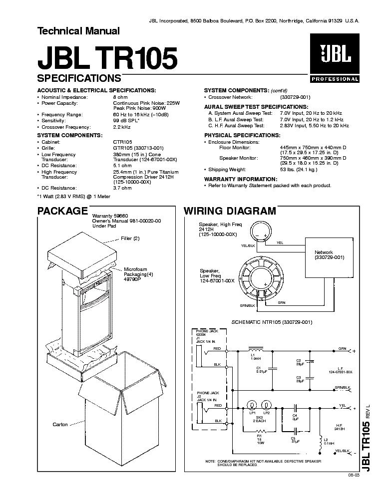 Jbl Tr105 Sm Service Manual Download  Schematics  Eeprom