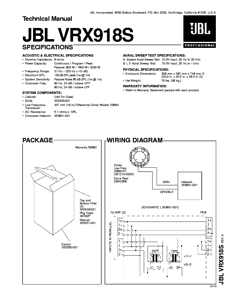 JBL VRX918S service manual (1st page)