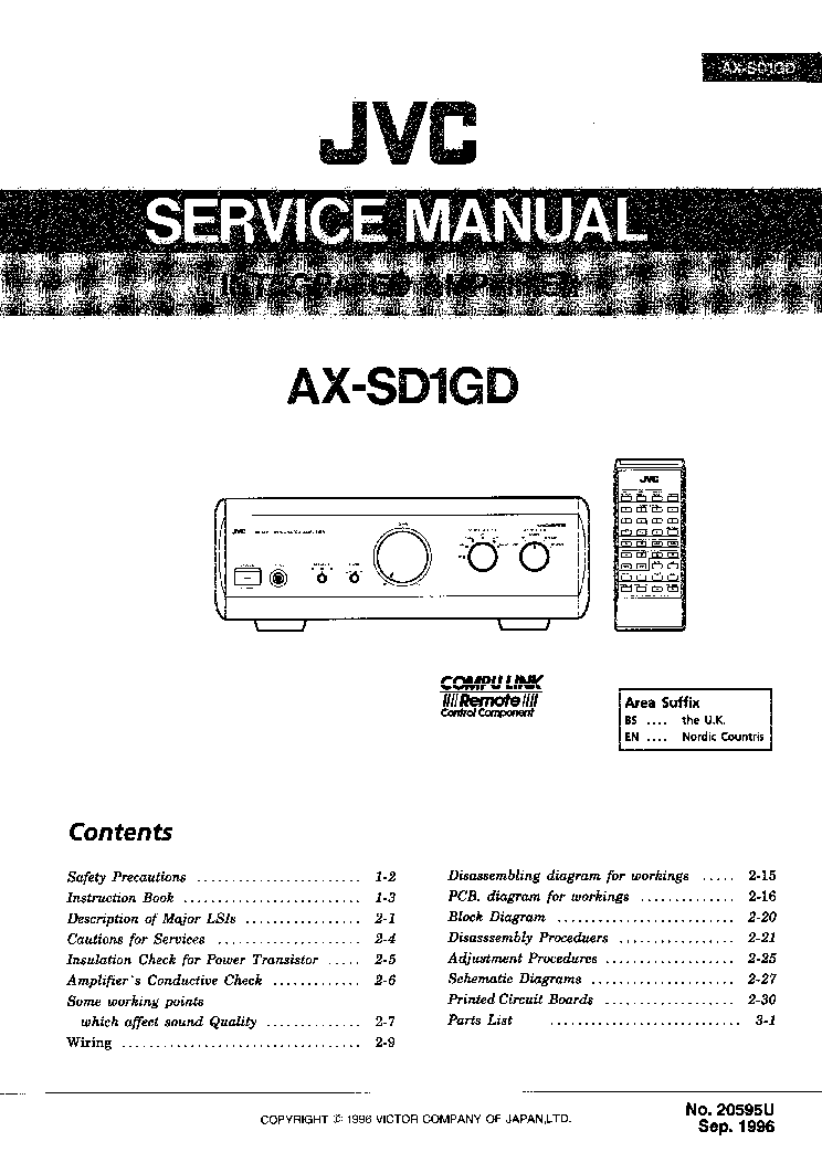 JVC    AXSD1 Service    Manual    download     schematics     eeprom