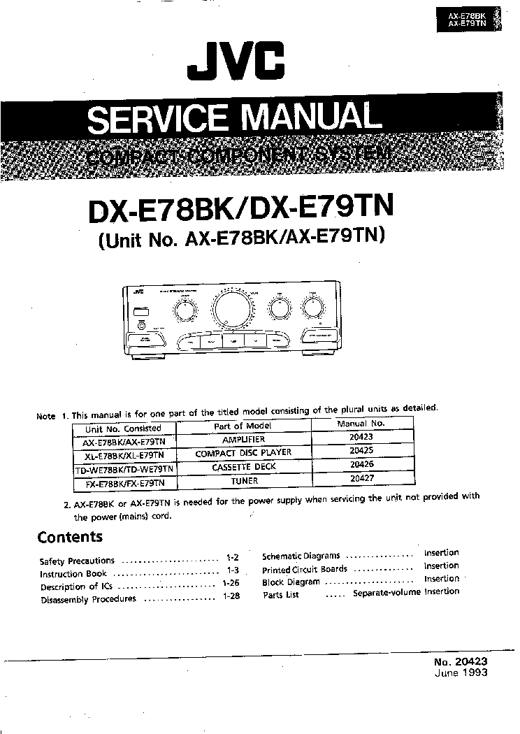 jvc dx e78bk dx e79tn compact component system service manual