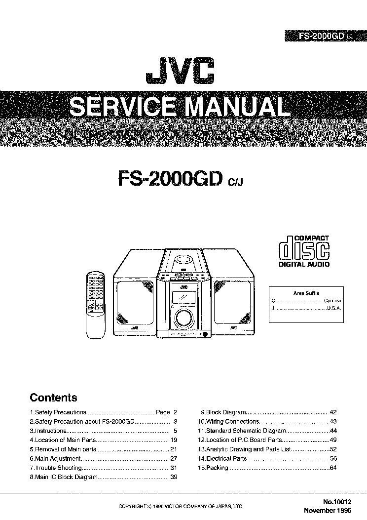 JVC       FS   2000GD Service    Manual    download     schematics     eeprom  repair info for electronics experts