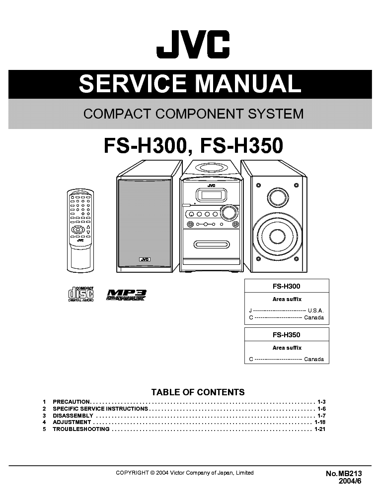 JVC       FS   H300 H350 SM Service    Manual    download     schematics     eeprom  repair info for electronics experts