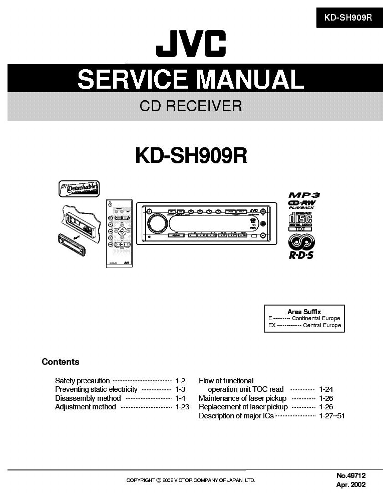 Скачать инструкцию (мануал) для Автомагнитолы JVC KD-SH909R.