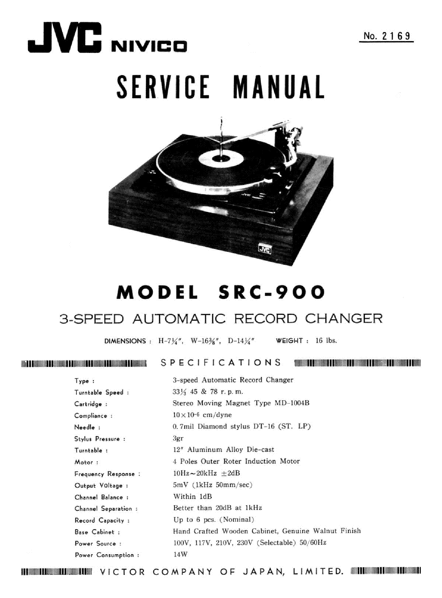 JVC NIVICO SRC-900 3-SPEED AUTOMATIC RECORD CHANGER SM service manual (1st