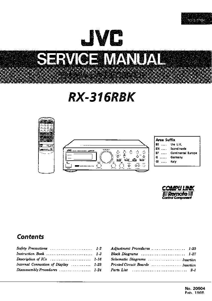 Jvc rx-318 service manual download, schematics, eeprom, repair.
