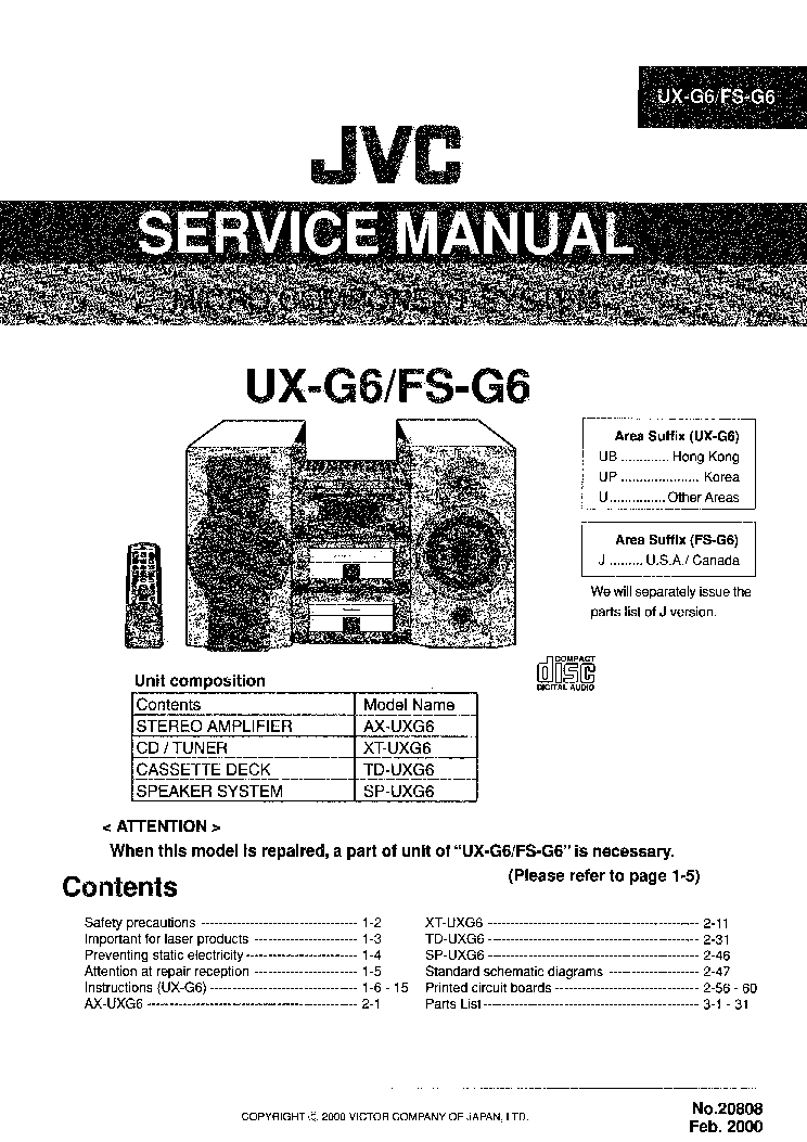 JVC    UXG6    FS   G6 Service    Manual    download     schematics     eeprom  repair info for electronics experts