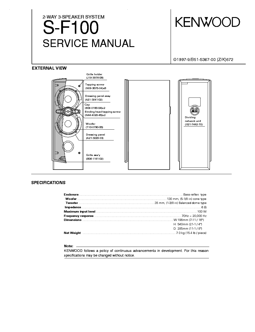 KENWOOD0 S-F100 service manual (1st page)