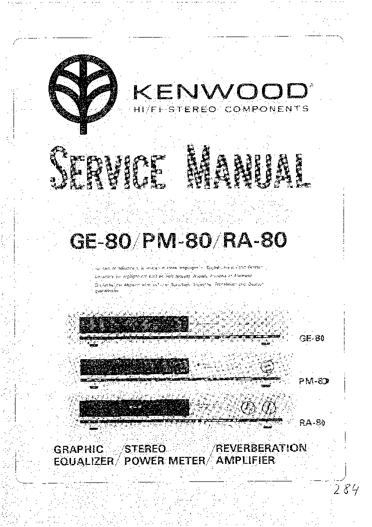 KENWOOD GE PM RA-80 SM service manual (1st page)