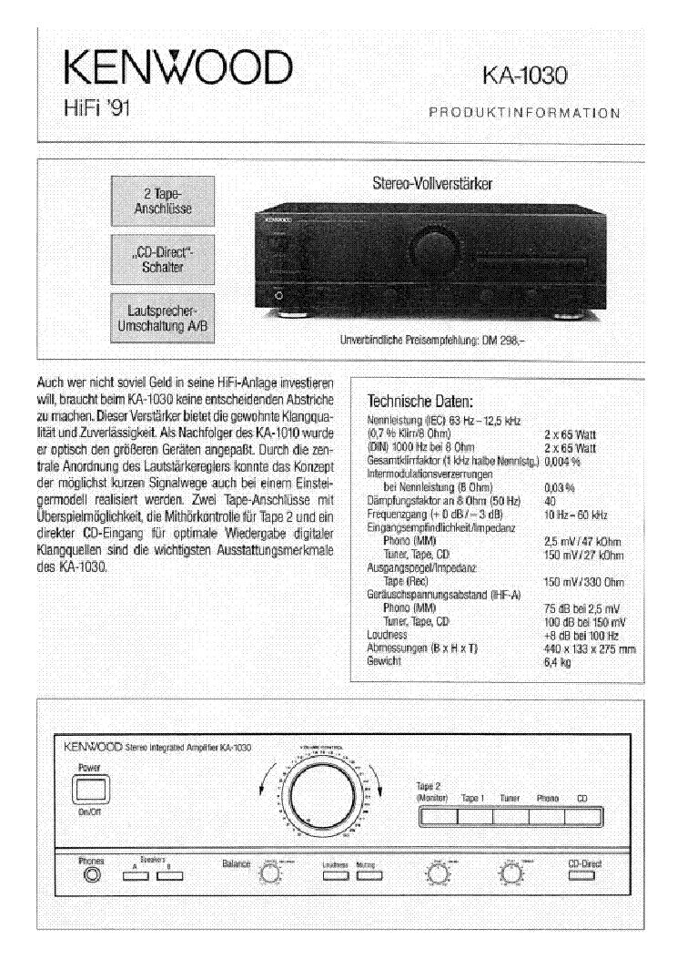 Kenwood Ka 1030 Service Manual Download Schematics